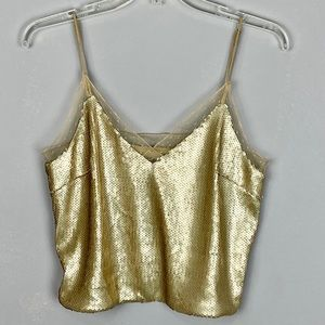 Forever 21 gold sequin and lace crop tank top